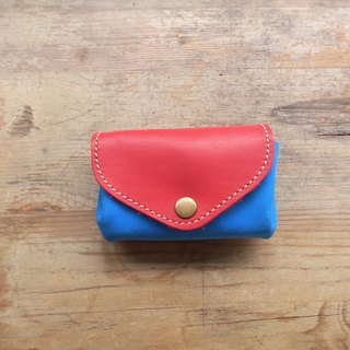 Three-layer fan-shaped wallet / Easy travel card package - Red and blue orange