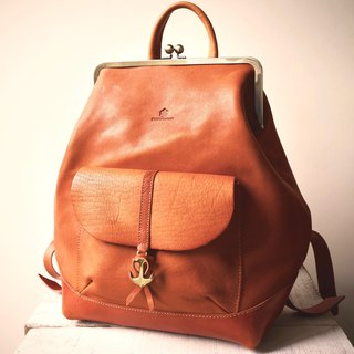 Tochigi leather made hamakuguchi Nume leather backpack ruotare L camel