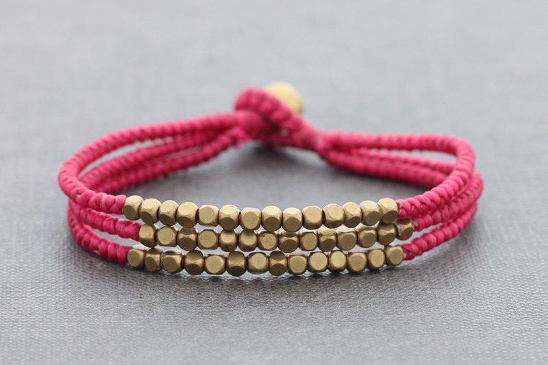 編織珠手鐲立方粉紅色串珠多股手鐲