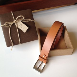Customized Gentleman Belt Gift Box Caramel Brown (Italian Vegetable Tanned Leather, Handmade Limited)