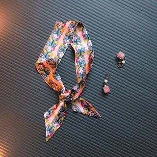 Silk Hairband/Scarf Dual Ponytail Girl Original Design Pattern Hairband/Scarf/Gift/Original Design