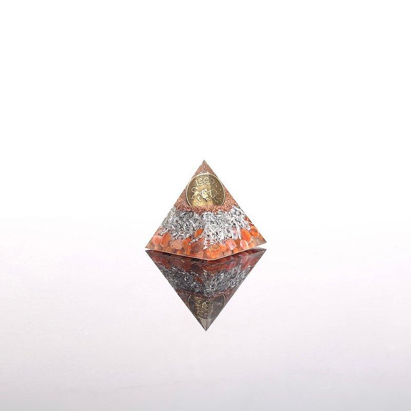 水晶療癒星座系列-獅子座奧剛幸運石金字塔Orgonite水晶礦石熱情