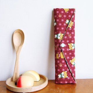 Wen Qing style green chopsticks bag ~ Chai Xie Scouts sweet red storage package. Green chopsticks gift bag