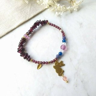 To the spirit of the small treasures】 【Purple Purple Purple Umbrella Blue Garnet Blue Agate Blue Crystal Amethyst Little Bunny Brass. Bronze. Small exquisite female single circle bracelet gift