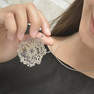 White Steel Pendant Series │ Dandelion Necklace