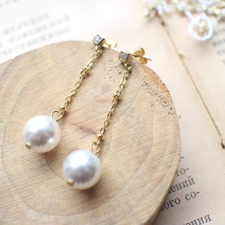 Snow white-pearls zircon earrings