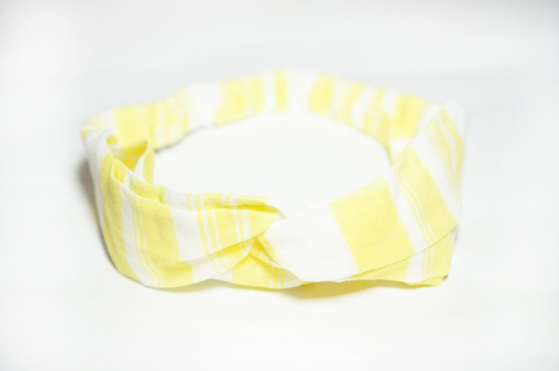 Yellow coarse plaid / handmade elastic hair band