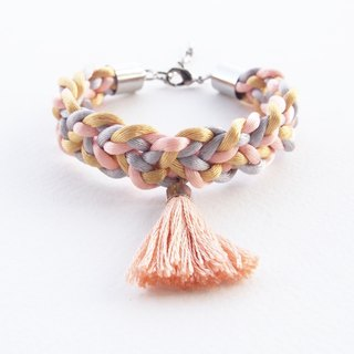 Old rose-gray-gold braided bracelet with old rose tassel