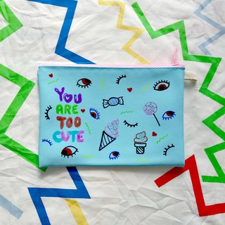 Hand-painted Clutch Bag : YOU ARE TOO CUTE