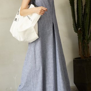 ZUO Blue & White Color Hounds-tooth Long Jumpsuit