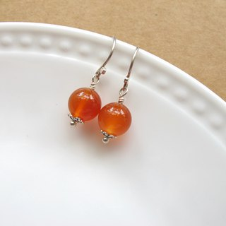 [Ice Orange Pomelo] Natural Agate x 925 Silver - Earrings Series - Handmade Natural Stone Series