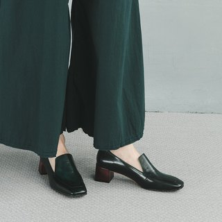 H THREE Square Loafers / Malachite Green / Thick Heel / Vintage