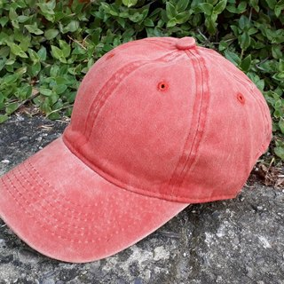 AMIN'S SHINY WORLD primary color washed denim baseball cap pink / orange