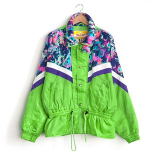 Vintage green splash ski coat with vintage coat