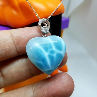 Crystal Girl Crystal - Heart Lake - Larimar sea stone necklace pendant hand works with 925 sterling silver chain