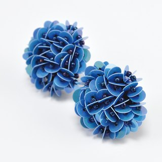 statement flower earrings, blue earrings, Hong Kong flower earrings, No.1