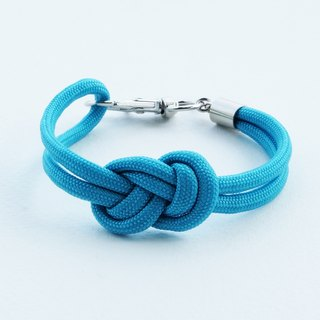Paracord infinity-knot with metal clip bracelet in SKY BLUE