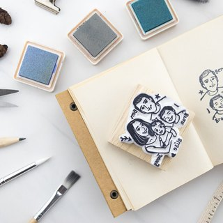 Group of 4 portrait rubber stamp (M)