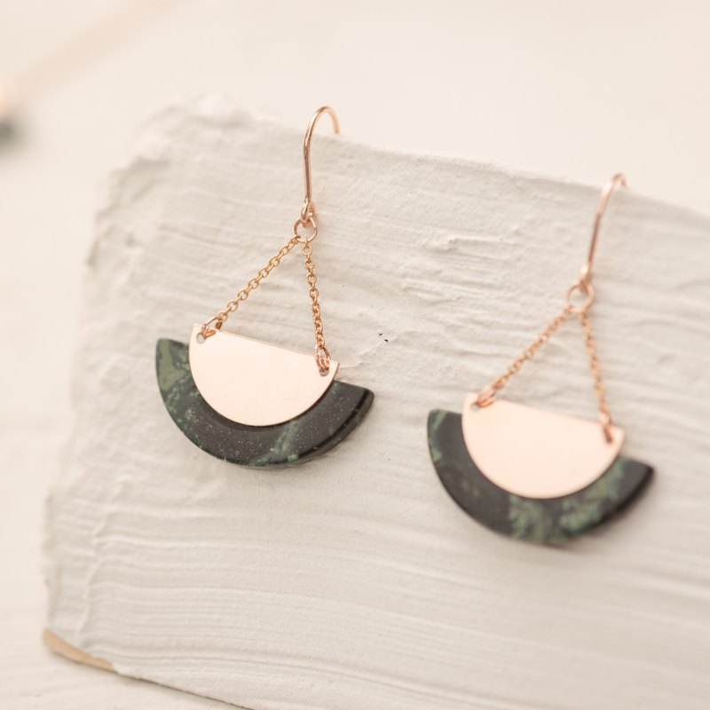 INDONESIA Earrings in natural tropical Jasper and 14k Rose gold filled