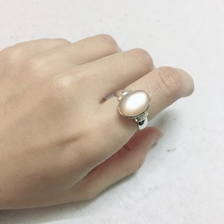 Pink Moonstone Ring Made in Nepal 92.5% Silver