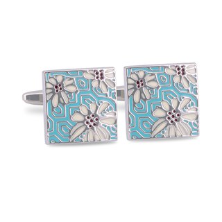 Light Blue Flower Enamel Cufflinks