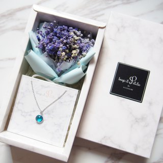 [Cloud Pattern Gift Set - Necklace] Purple Dry Star Bouquet + Sky Blue Round Stone Necklace