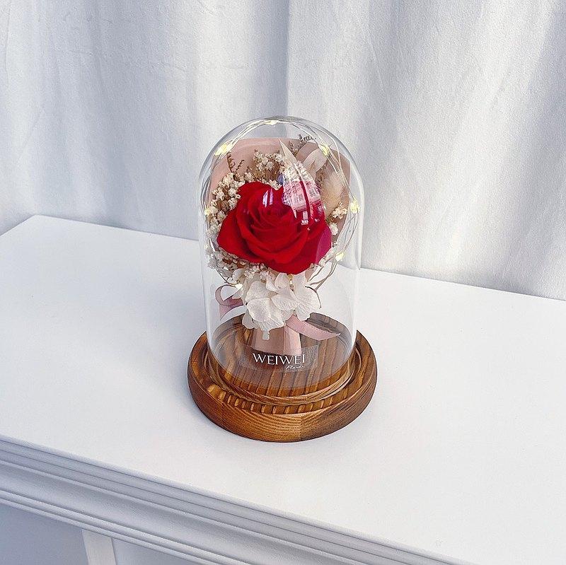 【獨家USB款】LED玫瑰小花束永生花玻璃鐘罩【寶石紅】