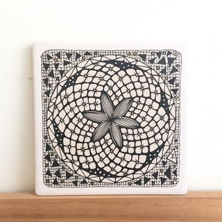 Ceramic Tangles Coaster/ Hand-Drawing/ Flower at night