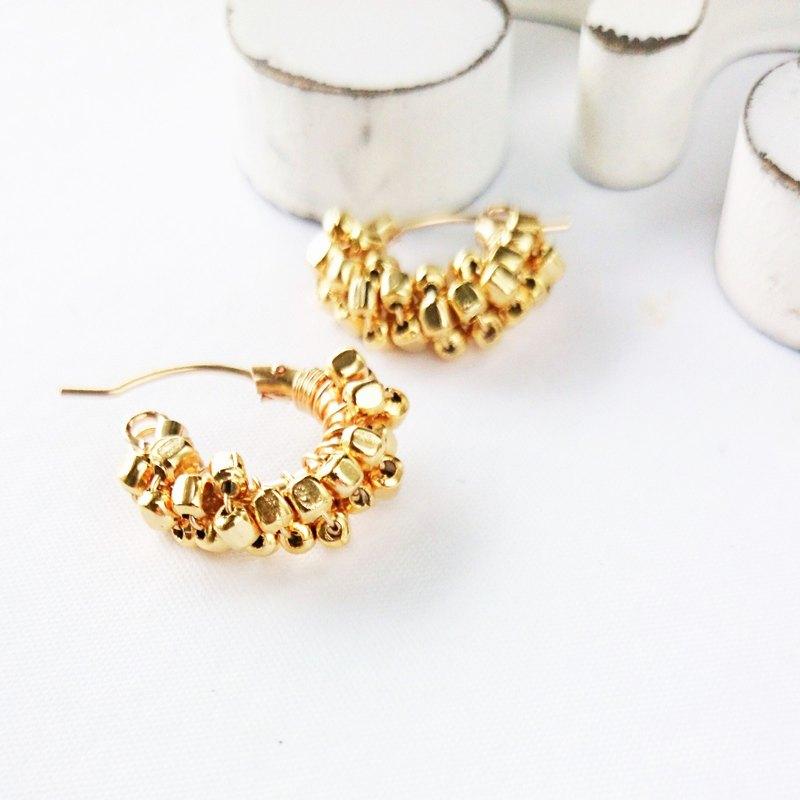 14kgf * pti金色方形纏繞金屬圈箍穿孔耳環