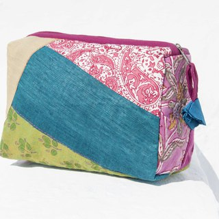 Valentine's Day gift Mother's Day gift birthday gift limited edition a blue stained patch storage bag / ethnic wind bag / camera bag / woodcut cosmetic bag / cell phone bag / travel clutch - woodcut printed color forest leaves flowers