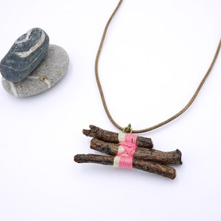 Upcycling, Eco, Natural, tree branches, wood necklace  - Creamy, pink