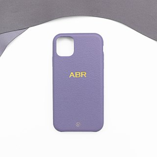 Customized Multicolor Leather Lambskin Series Macaron Dream Color Lavender Purple iPhone Case