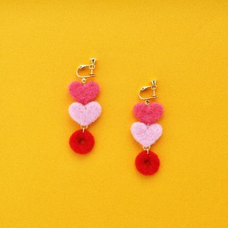 Tanabata Valentine's Day Series 04 - Love you for a long time wool felt earrings / ear clips (limited edition one)