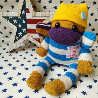 SOCKS MONKEY/small size/ blue yellow border