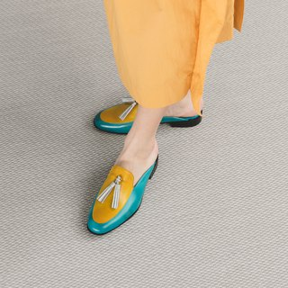 H THREE Fringe Loafers/Sky Blue with Yellow/Flat/tassel loafer slippers