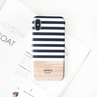 Black and white striped wood mobile phone case