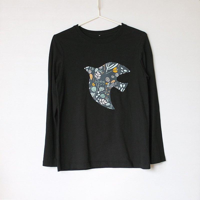 飛鳥花園微寬鬆黑色長袖T-shirt No.2