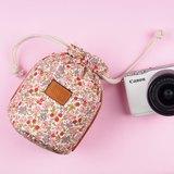 mi81 花布相機鏡頭袋/束口袋(中) 粉紅花語