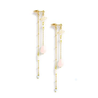 Ficelle | Handmade Brass Natural Stone Bracelet | [Pink Crystal] Walk with You - Earrings