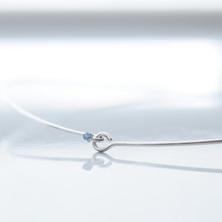 Aquamarine Aquamarine Wire Choker Necklace 925 Silver