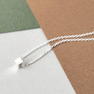 Micro tiny square necklace silver 925