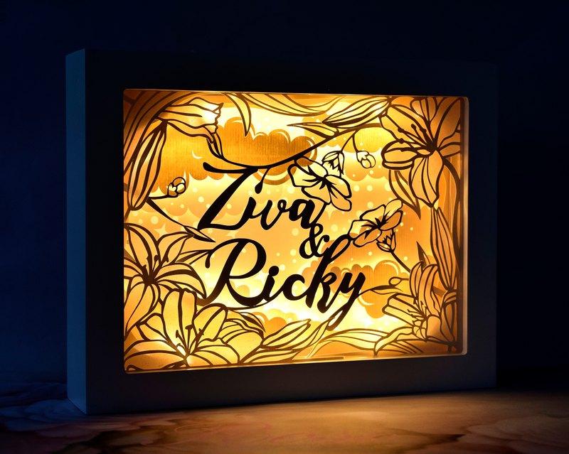 簡約百合花主題 // 手工客製化名字特式LED紙雕燈 // 結婚禮物