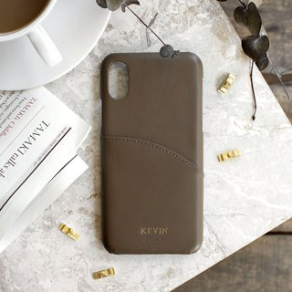 Can be lettering iPhone X 5.8 吋 leather anti-splash phone case - Mocha color