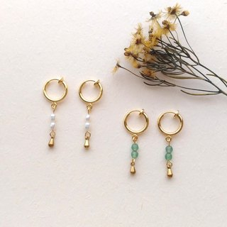 E015-小清新-Brass Freshwater Rice Pearl Clip Earrings