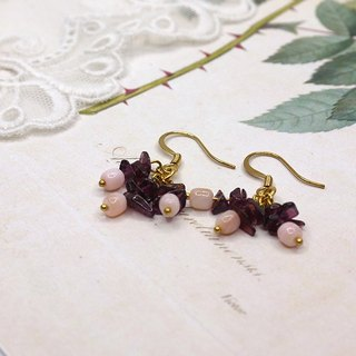 irregular garnet with agate earring