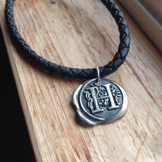 Wax seal letter leather bracelet