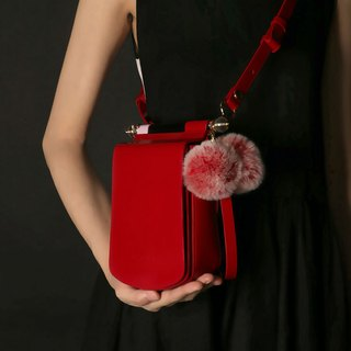 Red leather candy color mobile phone small square bag cross-body bag with side backpack can be loaded with iPhone X