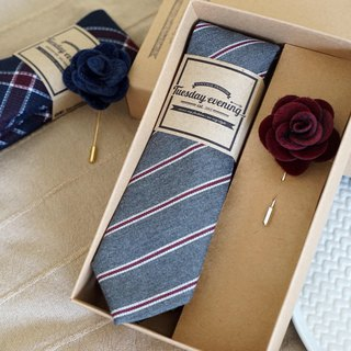 Neck Tie Pewter Grey Stripe with Blue Lapel Pin (for Valentine free Crafted box)