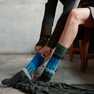 靴下ブリーズ / irregular / socks / check / green