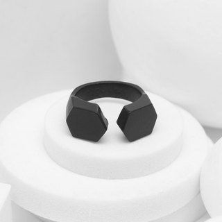 Recovery small hexagon ring (fog black)